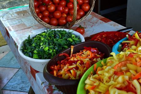 Sliced paprika colored vegetables