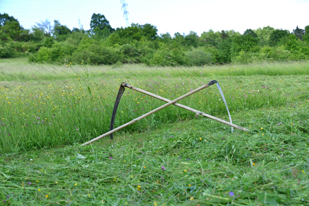 tradition scythe for mowing grass on the green meadow Stock fotó - 120369858
