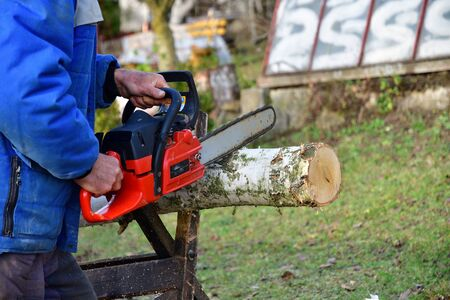 Gardener saws wood with chainsaw by hand in safety dress in the garden