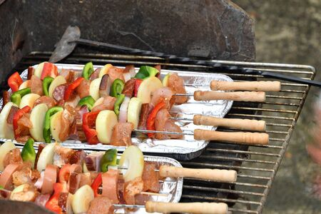 Skewers of meat and vegetables are grilled outside in the garden Banco de Imagens