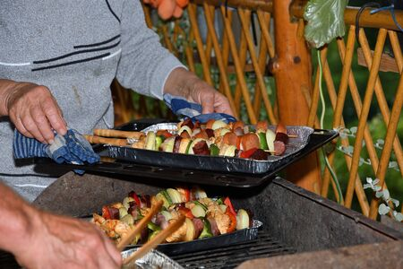 A human puts a spice sauce on meat and vegetables on the grill Banco de Imagens