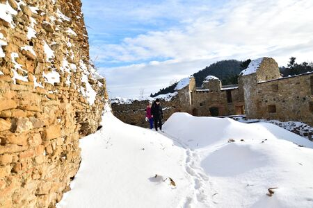 Tourist watching on old historical walls and historic castle in the countryside Zborov Slovakia