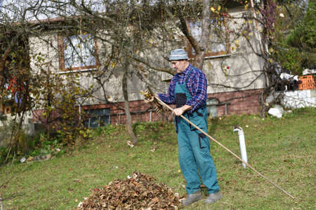 Autumn garden work and leaf cleaning before winter Stock Photo