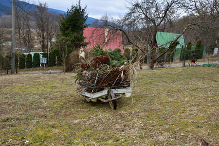 Spring cleaning in the garden at the cottage from branches and dry grass 版權商用圖片