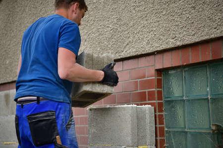 The traditional domestic way of wall masonry using concrete blocks