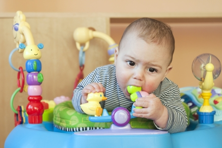Portrait of a cute 6 month old teething baby, boy or girl, biting a plastic toy in a walker of bouncer. Stock Photo