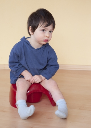 A cute toddler child boy sitting on a red potty. photo