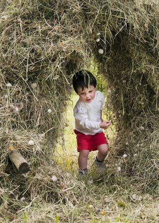 ecotourism: Child  playing in a hay stack on a farm.