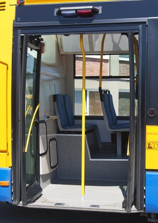 Open door of a modern public transport city bus.