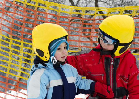 Two young skier boys photo