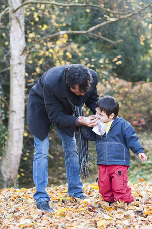 wipes: Father caring after his son, wiping his nose in a autumn or fall park. Stock Photo