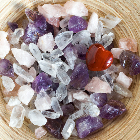 Colorful semi precious quartz stones, top view