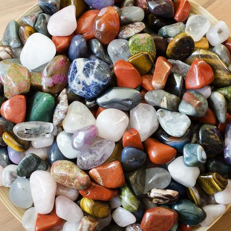 crystal bowl: Colorful semi precious stones or gems