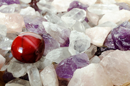 stone bowl: Semi precious quartz stones and a red agate stone.