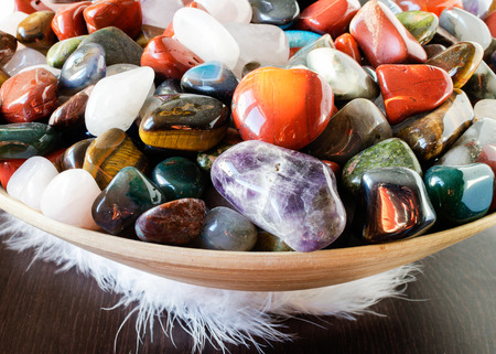 crystal background: Colorful semi precious stones or gems