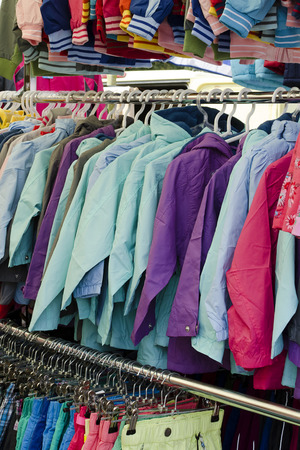Clothes on sale at market or shop. photo