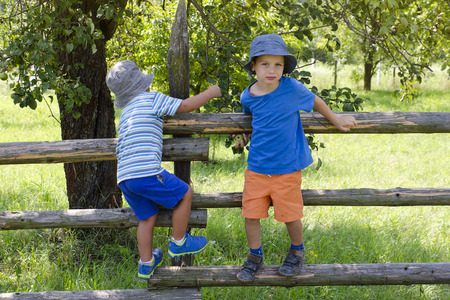 Children climbing over wooden fence into a garden or orchard. photo
