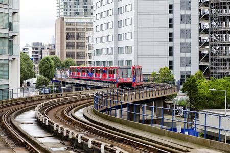London DLR, Docklands light railway, modern city public transport Editorial
