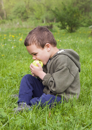 Child boy eating an apple, sitting on grass in a park in nature. Stock Photo