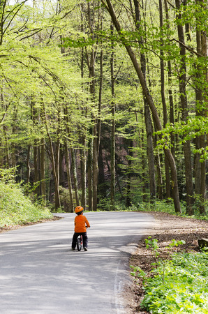 Child cycling on a road in spring forest, back view. Stock Photo
