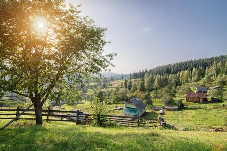 view of the village in the mountainous area, a village in the Ukrainian Carpathians, houses on the hillside,