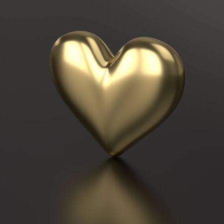 Golden Heart. 3D Render on Black Background Stock Photo