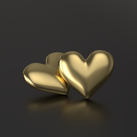 Two Golden Heart. 3D Render on Black Background