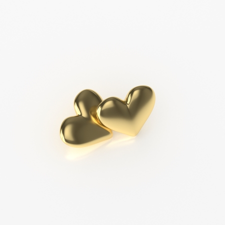 metalic: Two Golden Heart. 3D Render on White Background