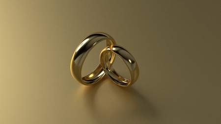 eternity: The beauty golden wedding ring on gold background. 3d rendering