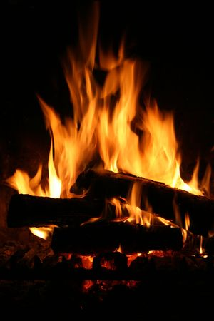 blazes: Fire in a fireplace Stock Photo