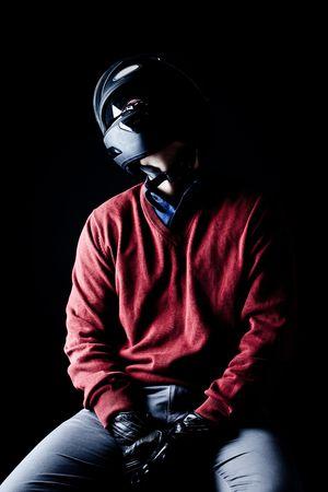 motociclista: Hombre en un Helme de motos