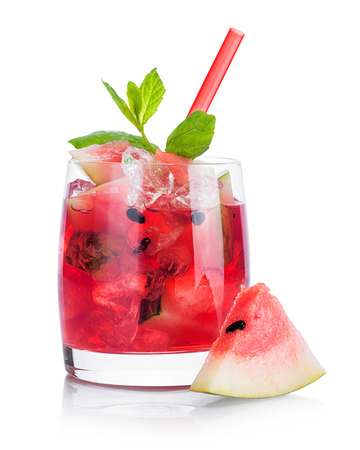 Drink with watermelon and mint isolated on white background