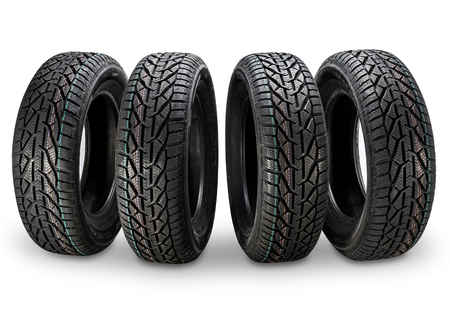 Group of car tires isolated on white background Stockfoto