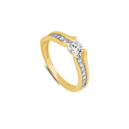 Gold ring with white sapphires isolated on white background 写真素材 - 122898787