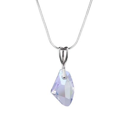 Silver pendant with blue gem stone isolated on white background