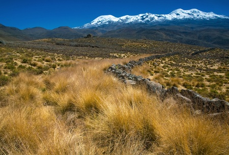 andean: Stone fence at the highland of Peru - Coropuna mountain Stock Photo