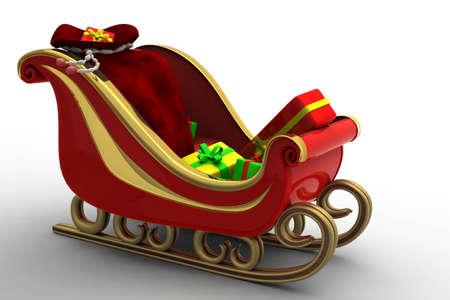 papa noel en trineo: Se presenta el trineo de Santa hermoso rojo llevando un mont�n de Navidad. Una bolsa de completa y llevar el trineo lleno de alegr�a a los ni�os
