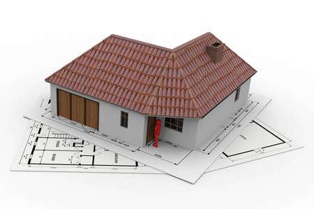 Projekt f�r ein kleines Haus. Pl�ne f�r den Bau auf die das Haus mit dem Projekt vertraut gef�rdert wird. Stockfoto - 8683287