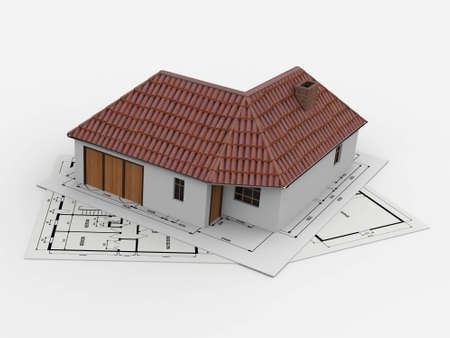 encouraged: Project for a small house. Plans for the building on which the house is encouraged to become familiar with the project. Stock Photo