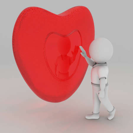 The picture shows a yearning for a second heart, as seen in reflection. Stock Photo - 8683297