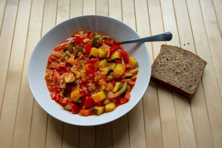 A hearty bowl of lecso, spicy vegetable stew