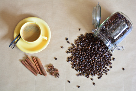 Cup of coffee with some anise, vanilla, cinnamon sticks and spilled coffee beans Zdjęcie Seryjne