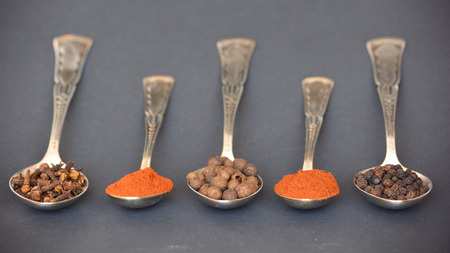 Spoonful of spices. Assorted seasoning composition