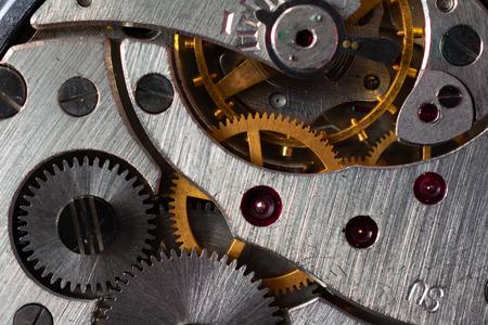 Pocket watch mechanism in close detail, macro Zdjęcie Seryjne