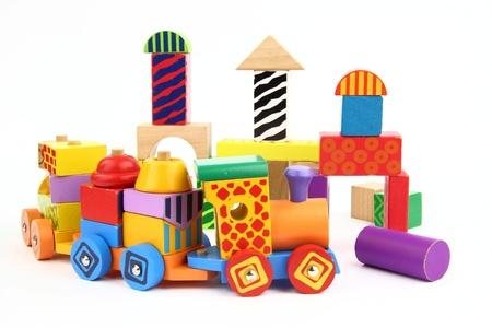 wooden figure: Wooden building blocks Stock Photo