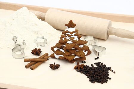 Christmas tree  made of gingerbread on a pastry photo