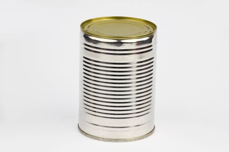 unopened: Unopened can arranged on the white background Stock Photo