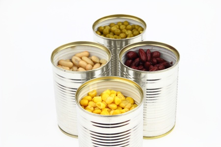 canned peas: The tins with peas, bean, red bean, corn on the white background