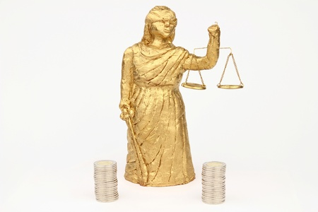 judicature: Themis and money on the white background