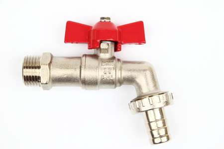 mountings: The ball valve tap with knob butterfly Stock Photo